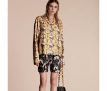 Bluse aus Seidentwill im Pyjamastil mit antikem Druck