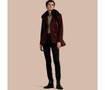 Zweireihiger Mantel aus Wolle und Kaschmir mit Pelzkragen