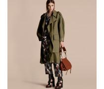 Langer Mantel im Wickeldesign aus Ramie und Baumwolle
