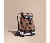 Rucksack in Canvas Check mit Herzmuster und Lederbesatz