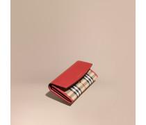 Brieftasche im Kontinentalformat in Horseferry Check mit Lederbesatz