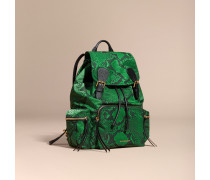 The Large Rucksack aus Nylon mit Pythonmuster und Lederbesatz