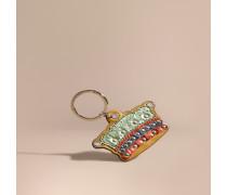 Kronen-Schlüsselanhänger aus Natternleder und Leder