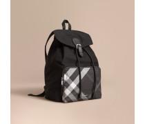 Packbarer Rucksack aus technischer Faser mit Karodetail