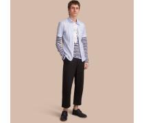 Kurzärmeliges Seersucker-Baumwollhemd mit Streifenmuster