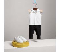 Poloshirt aus Baumwollpiqué mit Flatterärmeln