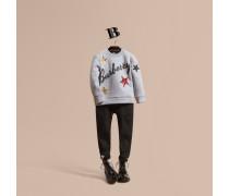 Sweatshirt Aus Baumwolljersey Mit Grafikdruck Und Pailletten