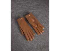 Handschuhe aus Lammleder mit Karostickerei