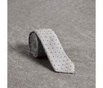 Schmale Krawatte aus Baumwollseide mit Chenille-Punktmuster