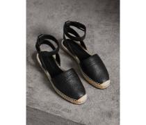 Espadrille-Sandalen aus genarbtem Leder mit Prägedetail