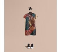 Kleid Aus Jacquardgewebe Im Patchwork-stil Mit Check-muster