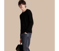 Pullover aus Kaschmir und Baumwolle mit Check-Besatz