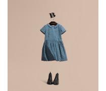 Baumwollkleid Mit Faltendetail Und Punktmuster In Pinselstrichoptik