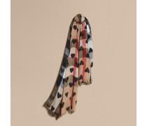 Schal aus Modal und Kaschmir in Check mit Herzmuster