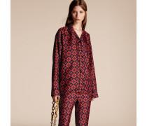 Seidenbluse im Pyjamastil mit geometrischem Kachelmuster