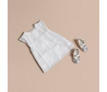 Kleid aus Baumwolltüll mit Spitze und Höschen
