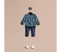 Bluse aus Baumwolle mit floralem Druck und Rüschendetail