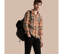 Hemd aus Leinen und Baumwolle mit Button-down-Kragen und Check-Muster