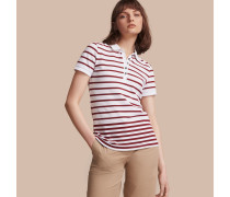 Poloshirt aus Stretchbaumwollpiqué mit Streifenmuster