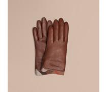 Lederhandschuhe mit Check-Besatz