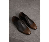 Derby-Schuhe aus Leder in Ombré-Optik mit Perforationsdetail