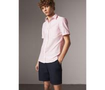 Kurzärmeliges Oxford-Hemd aus Baumwolle mit Karodetail