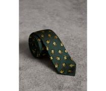 Schmal geschnittene Krawatte aus Seidenbrokat mit Blumenmuster