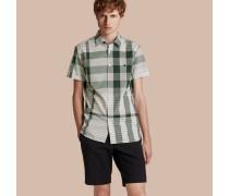 Kurzärmeliges Baumwollhemd mit farblich abgestimmtem Karomuster