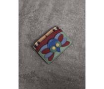 Beasts-Kartenetui aus Haymarket Check-Gewebe mit Lederbesatz