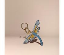 Libellen-schlüsselanhänger Aus Leder Und Veloursleder