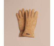 Handschuhe aus Veloursleder mit Schaffellfutter