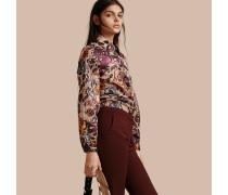 Bluse aus Lamé und floralem Jacquardgewebe mit formgebenden Ärmeln
