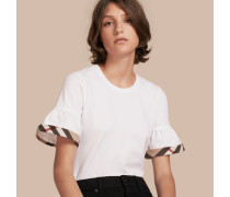 T-Shirt aus Stretchbaumwolle mit Rüschen und Karobesatz