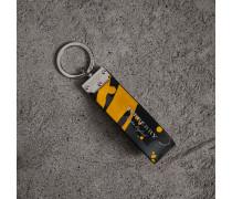 Schlüsselanhänger aus Trench-Leder im Farbklecks-Design