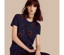 Baumwoll-t-shirt Mit Von Hand Aufgebrachten Perlen