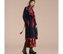 Cardigan-Mantel im Wickeldesign aus Stretchwolle und Kaschmir