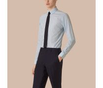 Schmal geschnittenes Hemd aus Baumwollpopelin mit Streifenmuster und Button-down-Kragen