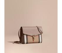 Kleine Crossbody-Tasche aus Leder und House Check-Gewebe