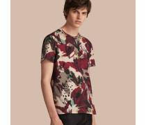 Baumwoll-T-Shirt mit abstraktem Blumendruck