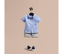 Oxford-Hemd aus Baumwolle mit aufgestickten Meeresmotiven