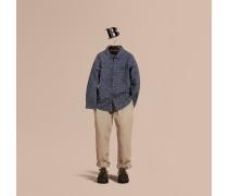 Baumwollhemd Mit Punktmuster In Pinselstrichoptik