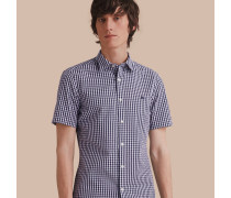 Kurzärmeliges Hemd aus Baumwollpopelin mit Vichy-Muster
