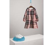 Kleid aus Baumwollflanell mit Raffungen und Karomuster