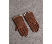 Touchscreen-Handschuhe aus Leder mit Karobesatz