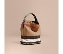 The Medium Ashby aus Canvas Check-Gewebe mit Lederbesatz und Ziernieten