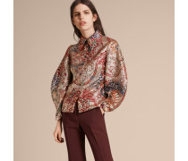 Bluse aus floralem Metallic-Jacquardgewebe mit formgebenden Ärmeln