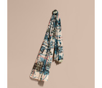 Schal aus Wolle und Seide mit Karomuster und Pfingstrosenmotiv