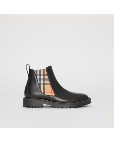 Chelsea-Stiefel aus Leder mit Vintage Check-Detail