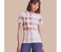 Poloshirt aus Stretchbaumwollpiqué mit Karomuster