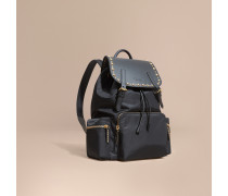 The Large Rucksack aus technischem Nylon und Leder mit Ziernieten
